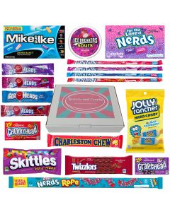 American Candy Hamper Box filled with cherry and berry flavour American sweets