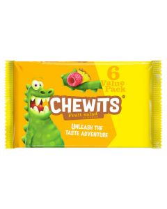 A pack of 6 tubes of fruit salad flavour chewits sweets