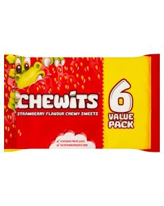 A pack of 6 tubes of strawberry flavour Chewits sweets