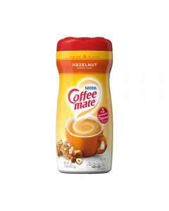 A jar of hazelnut flavour Coffee Mate coffee creamer imported from America