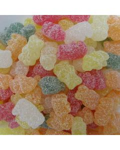 Assorted fruit flavour jelly bears with a fizzy coating