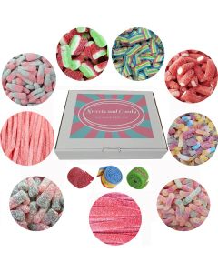 A variety of fizzy pick and mix sweets in our sweets and candy hamper box.