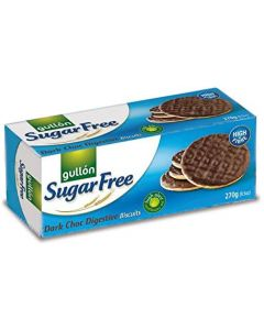 A sugar free digestive biscuit with a dark chocolate topping