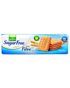 A packet of sugar free biscuits rich in fibre with a malt taste