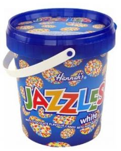 A bucket full of hannahs white jazzles sweets, white chocolate flavour candy buttons with sprinkles on top