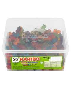 A full tub of Haribo jelly bears with a mix of sweet and sour flavour jelly sweets