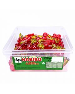 A full tub of Haribo jelly cherry sweets