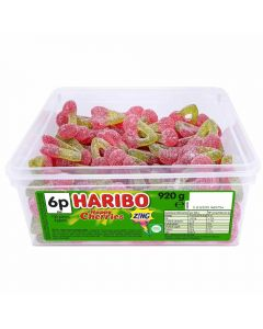 A full tub of Haribo fizzy cherry sweets