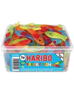 A full tub of Haribo freaky fish, colourful vegetarian jelly sweets