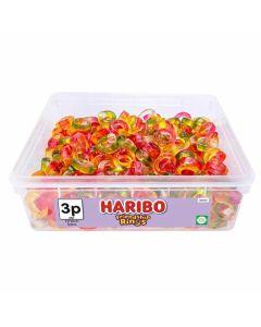 A bulk tub of Haribo Friendship ring shaped jelly sweets