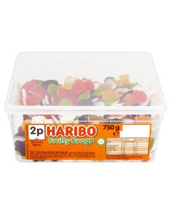 A full tub of Haribo fruity jelly and foam sweets shaped like frogs