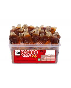 A full tub of Haribo giant cola bottles, giant jelly sweets