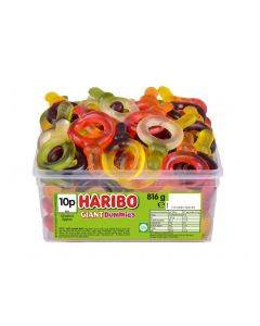A full tub of Haribo giant dummies, fruit flavour jelly sweets