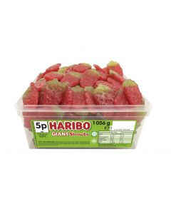 A full tub of Haribo gummy strawberry sweets which are suitable for vegetarians