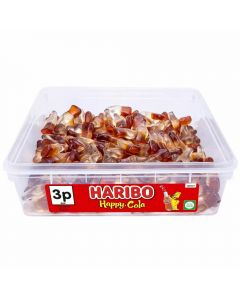 A full tub of Haribo jelly cola bottles