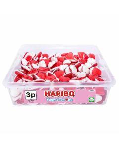 A full tub of Haribo Heart Throbs heart shaped jelly sweets