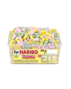 A full tub of Haribo Rhubarb and Custard sweets