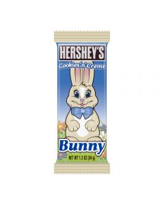 Hershey's Cookie and Creme chocolate in the shape of an Easter Bunny