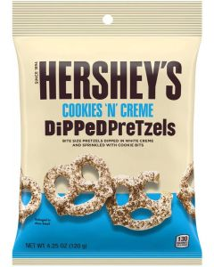 Snyders pretzels dipped in Hershey's creamy white chocolate topped with cookie pieces