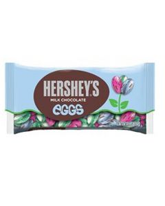 Brightly coloured foil wrapped eggs made from Hershey's milk chocolate