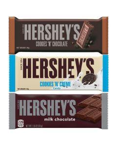 A variety pack of the three most popular Hershey chocolate bars, Hershey's Cookies n Creme, Hershey's Milk Chocolate, Hersheys Cookies n Chocolate American Chocolate Bars
