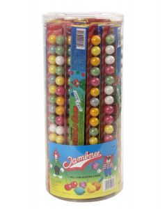 A full jar of 40 strips of bubblegum sweets, each with 16 bubblegum balls in
