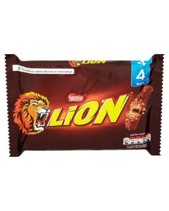 A pack of 4 lion bars consisting of a combination of crispy filled wafer, chewy caramel and crunchy cereals covered in smooth milk chocolate.
