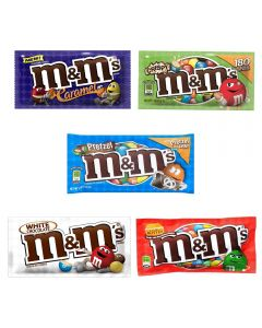 A variety pack of the 5 best selling flavours of American M&M's