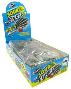 A full box of sour liquorice flyers sweets