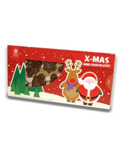 A gift box containing Christmas shaped milk chocolates