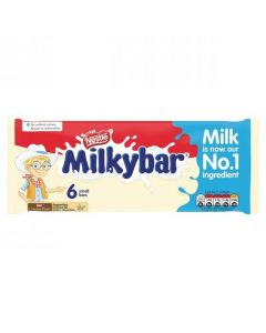A 6 pack of creamy white chocolate bars