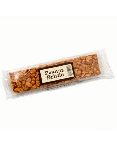 A 100g peanut brittle bar made from crunchy peanuts covered in caramelised sugar.