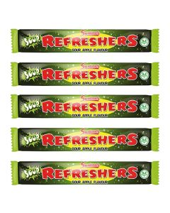 A pack of 10 sour apple chew bars, chewy retro sweets!