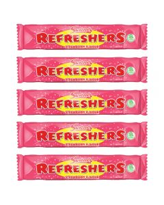 A pack of 10 strawberry refreshers chew bars, chewy retro sweets
