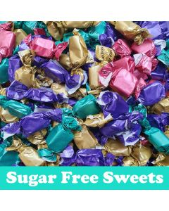 A 100g bag of sugar free toffees in an assortment of flavours