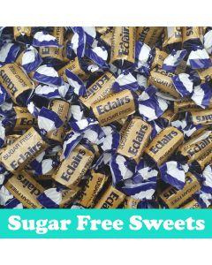 A 100g bag of sugar free chocolate eclairs sweets