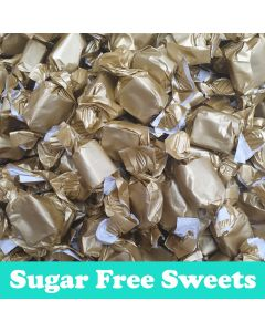 A 100g bag of creamy vanilla flavour toffee, sugar free sweets