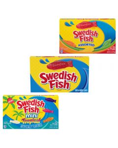 An assortment of three different flavours of swedish fish   sweets in theatre boxes