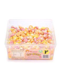 A full tub of Swizzels fun gums foam mushroom sweets