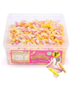 A full tub of Swizzels fun gums teeth and toothbrush shaped gummy sweets