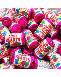 Little tubes of hard candy sweets with message of love on each sweet!