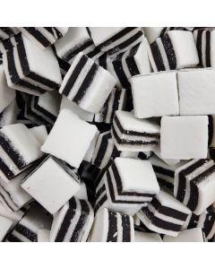 A bulk 3kg bag of Taveners black and white liquorice mints