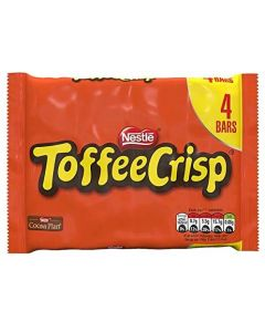 A multipack of 4 Toffee crisp bars made from soft caramel and crispy cereal pieces