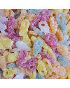 Vegan fruit flavour fizzy sweets shaped like dummies