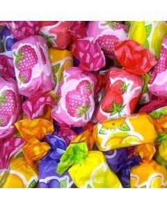A bulk 2kg bag of Verquin assorted fruit chews, raspberry, blackcurrant, lemon, orange and strawberry flavour