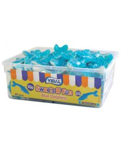 Large blue dolphin shaped sweets in a resealable sweet tub