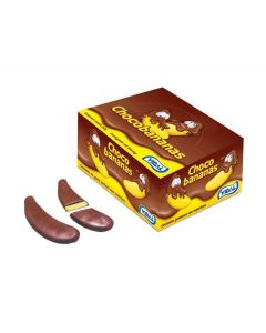 A full tub of Chocolate covered banana flavour foam sweets in large banana shapes!