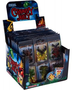 A full box of creepy jelly sweets in the shape of spiders, scorpions and creepy crawlies