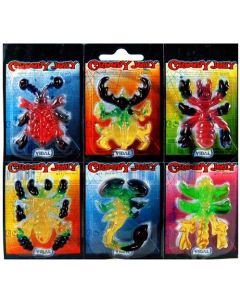 A pack of 6 creepy spooky jelly animals in the shapes of spiders, scorpions and creepy crawlies