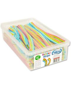 Vidal sour rainbow belts in a resealable tub